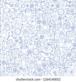 Kindergarten Vector seamless pattern with toys and items for education.