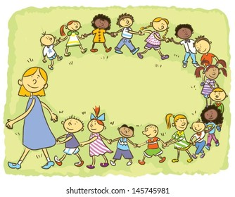 Kindergarten.Child's hand drawing vector illustration on happy child go around in a circle on green meadow