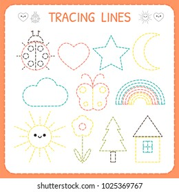 Kindergartens educational game for kids. Preschool tracing worksheet for practicing motor skills. Dashed lines. Vector illustration