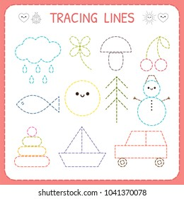 Kindergartens educational game for kids. Preschool tracing worksheet for practicing motor skills. Dashed lines. Working pages for children. Vector illustration