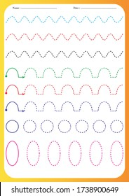 Kindergartens educational game for kids. Preschool tracing worksheet for practicing motor skills. Dashed lines. Working pages for children. illustration and vector outline - A4 paper ready to print.