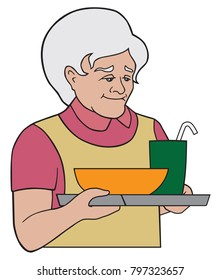 A kindly grandmother is serving a hot meal on a tray