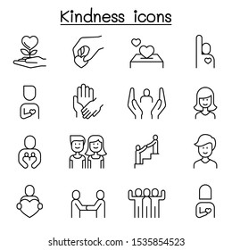 Kindness, Care, volunteer icon set in thin line style
