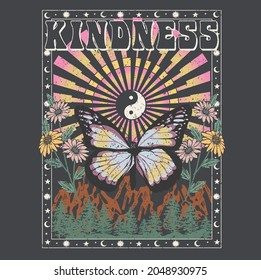 KINDNESS CELESTIAL BUTTERFLY TSHIRT GRAPHICS DESIGN