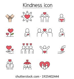 Kindness, Charity, Donation fill color line icons