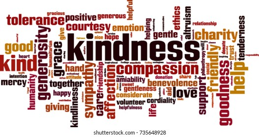 Kindness word cloud concept. Vector illustration