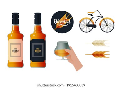 Kinds of Bottles with Labels. Blended Badge. Lettering Composition with Decorative Elements. Hand Hold Glass with Liquid. Vintage Bicycle. Malt. Modern Vector Illustration. Social Media Ads.