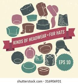 Kinds of headwear. Fur hats. Eps 10
