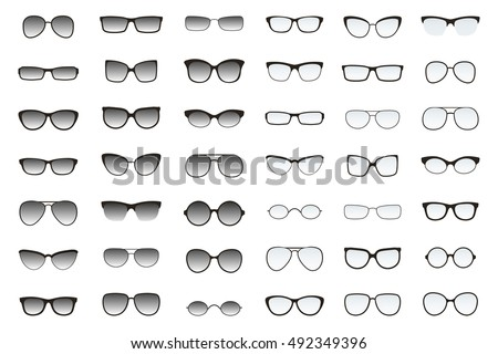 1d01f88c2de Many types of glasses. Fashion collection. Forms of fashionable spectacles.  Vector set. All glasses with translucent glass. - Vector