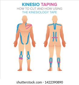 Kinesio taping illustration. How using and how to cut the kinesiology tape for your design