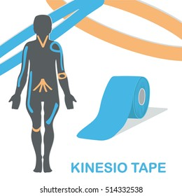 Kinesiology tape improves nerve receptors and reduces pain. Kinesiology taping, example. Vector illustration.