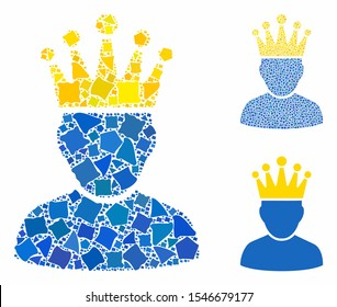 King admin composition of inequal elements in different sizes and shades, based on king admin icon. Vector inequal items are combined into composition. King admin icons collage with dotted pattern.