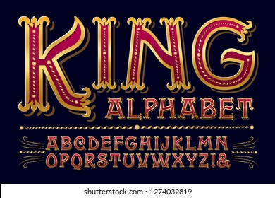 King Alphabet is a regal ornate lettering style with elegant gilded detailing. This font would work well with anything courtly, royal, high class, or antique.