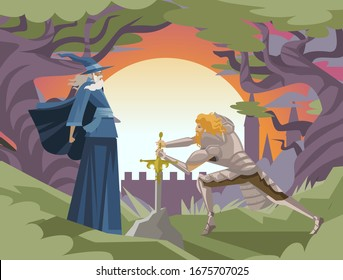 king arthur with excalibur in the rock and merlin wizard tale
