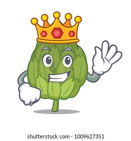 King artichoke mascot cartoon style