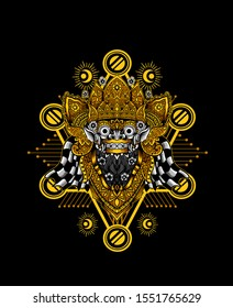 KING BARONG MASK glow light color with sacred geomatry pattern,balinese culture icon.