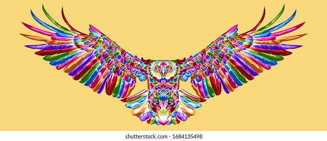 king of birds. colorful flying eagle on pop art style ,low poly , geometric art
