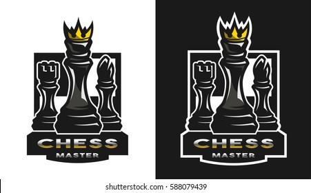 King, bishop, castle, Chess game emblem, logo.