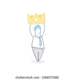 King, Boss, Chef, Master, Leader, Authority. Cute fun cartoon character fantasizes and holds the crown over himself. Flat outline vector illustration on white background.