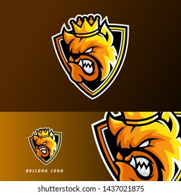 King bulldog dog animal sport or esport gaming mascot logo template, for your team, business, and personal branding