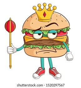 King of burger cartoon character holding the king stick with funny thinking expression