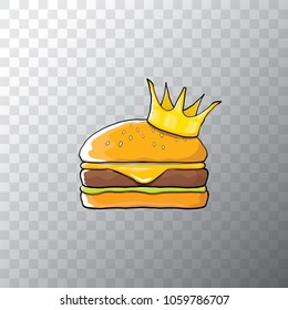 king burger with cheese and golden crown icon isolated on transpararent background. Vector burger, hamburger, cheeseburger label design element. Fast food or burger house logo concept