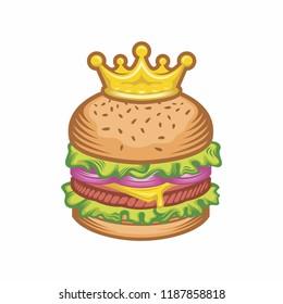 King burger concept vector cartoon and Crown illustration.  yummy delicious fresh burger, hamburger. cheeseburger. Fast food,fastfood,menu concept