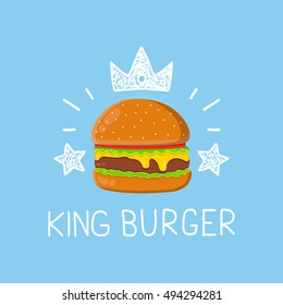 King burger concept vector cartoon flat and doodle illustration. Crown and stars icon. yummy delicious fresh burger, hamburger. cheeseburger. Fast food,fastfood,menu concept