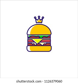 king burger with crown logo vector template, burger logo with pop color isolated on white background