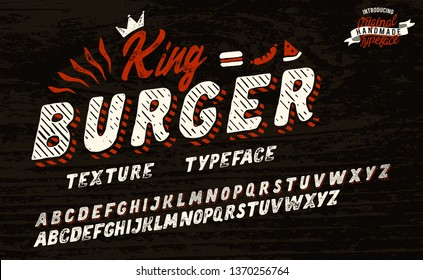 King Burger. Vintage 3D serif font. Hand made font and logotype. Vintage style. Old whiskey. Clothing collection. Retro print. Hipster style.
