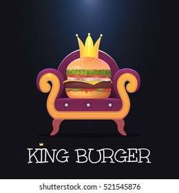 King burger.Vector burger on the throne. Vector illustration