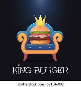 King burger.Vector burger on the throne. Vector illustration