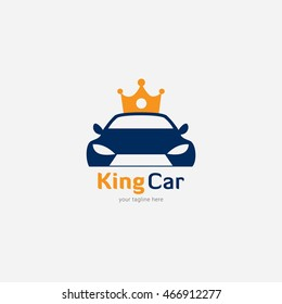 King Car Logo Design Template. Vector Illustration