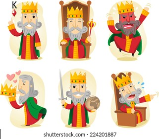 King cartoon illustration set including recognizable situations, on the throne, with sword, mad king, kissing crown