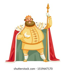 King cartoon vector illustration isolated in white background. Good, merry king wearing crown and mantle. Stocky and fat old white skinned, kind and happy king.