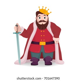 King character, knight posing with sword and crown