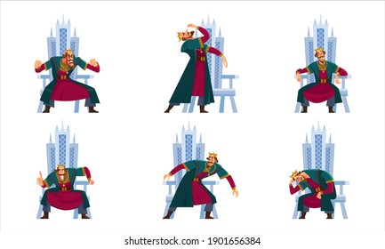 King character set. Tall, wise, handsome, elegant, sophisticated king. Emperor expressions, smile or sad, crying and happy. Cartoon Flat style vector illustration isolated on white background.