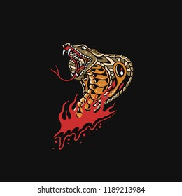 King cobra attack and out of fire, with the venemous, traditional tattoo style, tattoo flash.