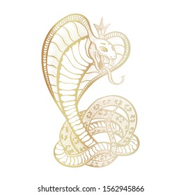 King Cobra with hood and crown. Golden vector isolated viper snake, hand-drawn luxury logo for hunting, sports theme. Mascot tattoo template with fangs and tongue. Feminine character.