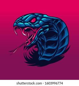 King cobra snake wild beast illustration