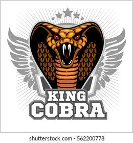 King cobra and wings - mascot template design. Vector illustration.