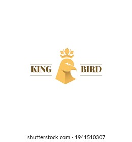 King crown with bird head symbol, logo with head of bird and crown icon concept