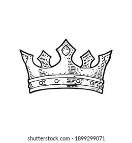 King crown. Engraving vintage vector color illustration. Isolated on white background. Hand drawn design element for label, tattoo and poster