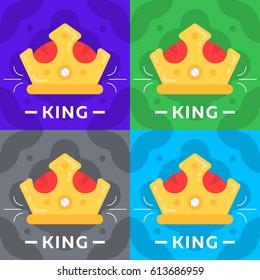 King crown flat icon illustration.