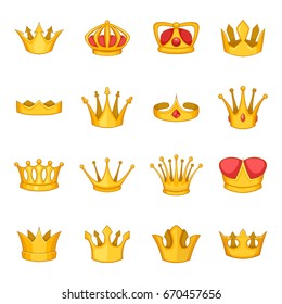 King crown icons set. Cartoon illustration of 16 king crown vector icons for any web