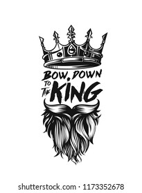 King crown, moustache and beard icon, symbol of power, text, vector illustration