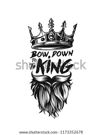 King Crown Moustache Beard Icon Symbol Stock Vector Royalty Free
