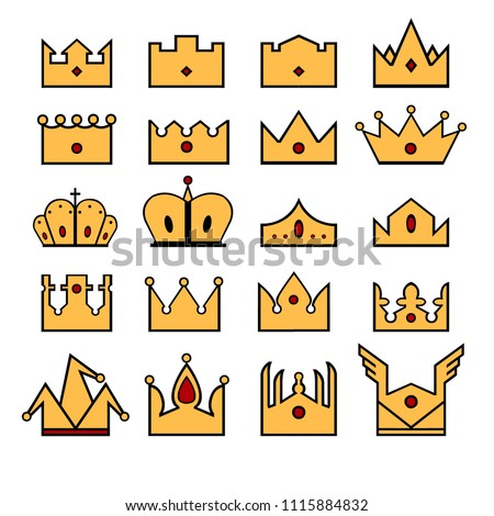 King Crown Queen Crown Princess Crown Stock Vector Royalty Free