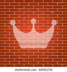 King crown sign. Vector. Whitish icon on brick wall as background.