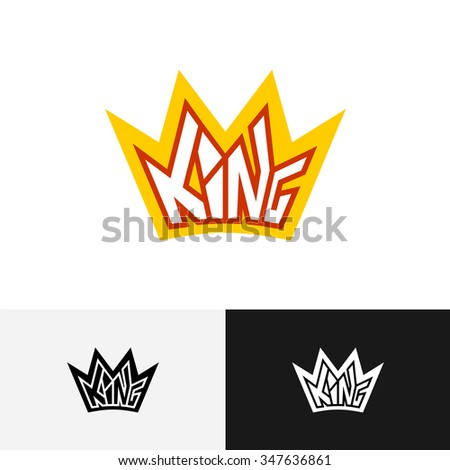 King Crown Text Logo Letters King Stock Vector Royalty Free